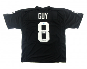 "Ray Guy Autographed/Signed Oakland Raiders Black Custom Jersey with ""HOF 14"" Inscription-0"