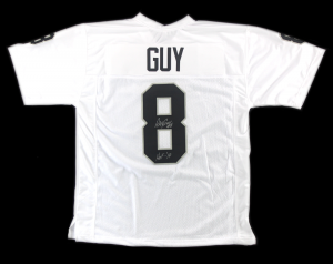 "Ray Guy Signed Oakland Raiders White Custom Jersey with ""HOF 14"" Inscription-0"