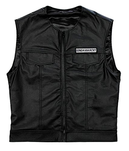 Sons Of Anarchy Officially Licensed Black Redwood Original Samcro Biker Vest with Reaper Patch - Size: Small-7226
