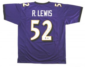 "Ray Lewis Signed Baltimore Ravens Purple Custom Jersey with ""HOF 18"" Inscription-0"