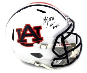 "Kerryon Johnson Signed Auburn Tigers NCAA Speed Full Size Helmet With ""War Eagle"" Inscription-0"