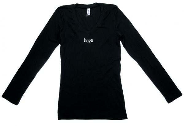 "Official Favre 4 Hope Black Ladies Long Sleeve Shirt with ""Hope""-0"