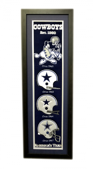 Dallas Cowboys 36x12 Heritage Banner Frame with Team Logos-0