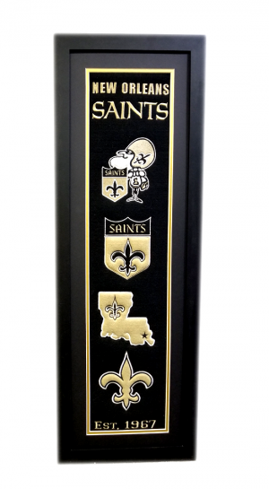 New Orleans Saints 36x12 Heritage Banner Frame with Team Logos-0