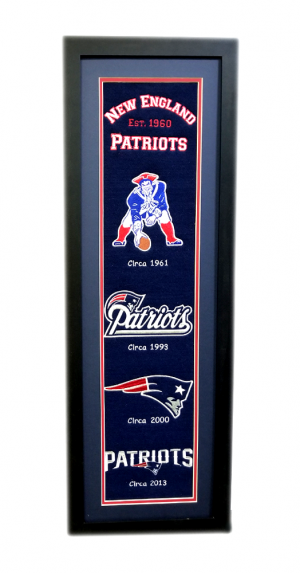 New England Patriots 36x12 Heritage Banner Frame with Team Logos-0