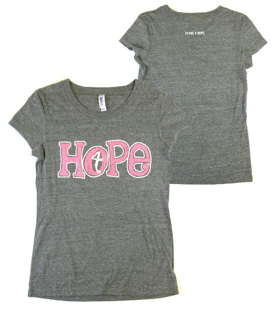"Official Favre 4 Hope Grey Ladies T-Shirt with Pink ""Hope""-0"