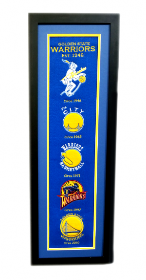 Golden State Warriors 36x12 Heritage Banner Frame with Team Logos-0