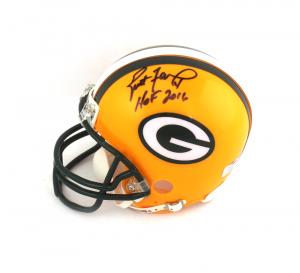 """Brett Favre Signed Green Bay Packers Mini Helmet with """"HOF 16"""" Inscriptions-0"""