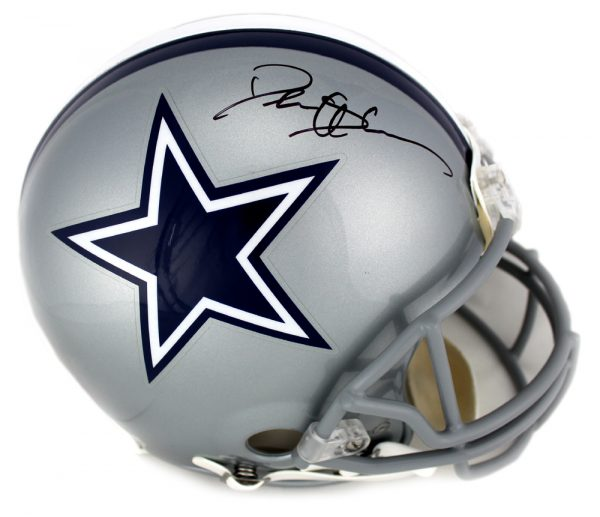 Deion Sanders Signed Dallas Cowboys Riddell NFL Authentic Full Size Grey Helmet-0