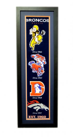 Denver Broncos 36x12 Heritage Banner Frame with Team Logos-0
