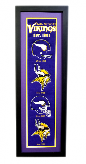 Minnesota Vikings 36x12 Heritage Banner Frame with Team Logos-0