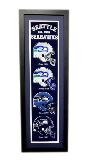 Seattle Seahawks 36x12 Heritage Banner Frame with Team Logos-0