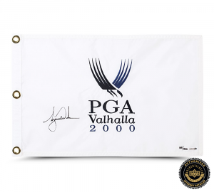 Tiger Woods Signed 2000 PGA Championship Pin Flag - White-0