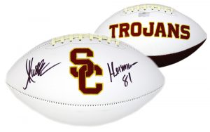 "Marcus Allen Signed USC Trojans Embroidered Logo Football with ""Heisman 81"" Inscription-32294"