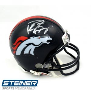 Peyton Manning Autographed/Signed Denver Broncos Riddell NFL Mini Helmet-0