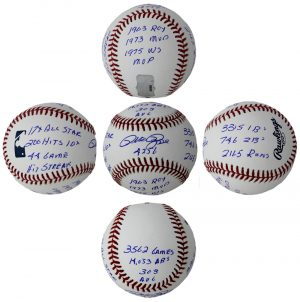Pete Rose Autographed/Signed Official Rawlings Major League Baseball - 12 Stat Inscriptions-0