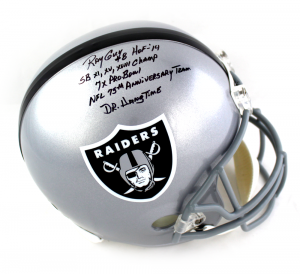 Ray Guy Signed Oakland Raiders Full Size Helmet with 5 Career Stats Inscription-0