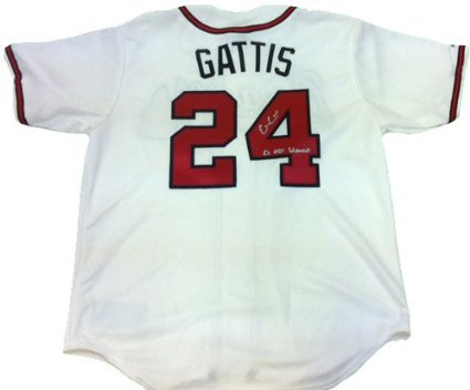 Evan Gattis Autographed/Signed Atlanta Braves White Majestic Jersey with El Oso Blanco Inscription-6063