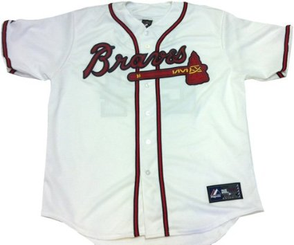 Evan Gattis Autographed/Signed Atlanta Braves White Majestic Jersey with El Oso Blanco Inscription-6060