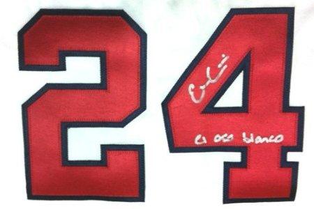 Evan Gattis Autographed/Signed Atlanta Braves White Majestic Jersey with El Oso Blanco Inscription-6064