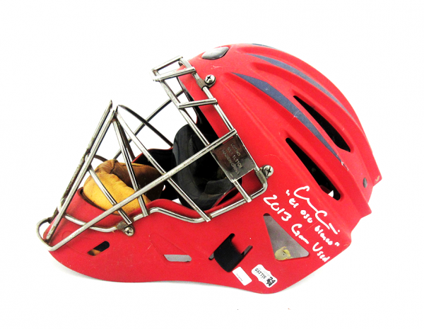 Evan Gattis Signed MLB Atlanta Braves 2013 Game Used Mizuno Catchers Gear Set-26243
