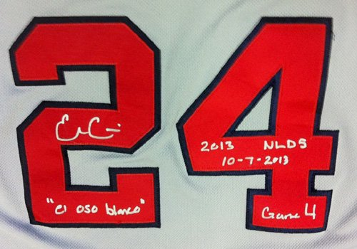 """Evan Gattis Autographed/Signed Game Used Atlanta Braves Road Playoff Majestic Jersey with """"El Oso Blanco"""" & """"2013 NLDS 10-7-2013 Game 4"""" Inscriptions-6181"""