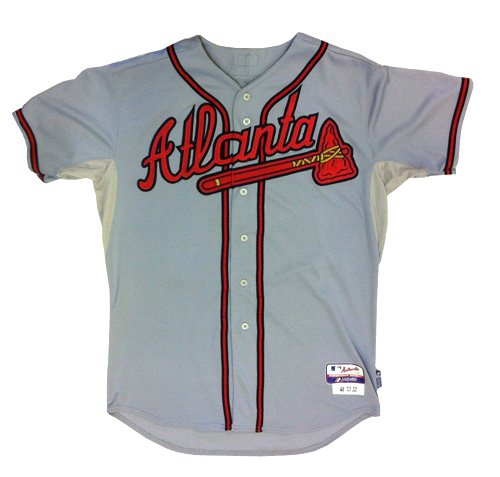 """Evan Gattis Autographed/Signed Game Used Atlanta Braves Road Playoff Majestic Jersey with """"El Oso Blanco"""" & """"2013 NLDS 10-7-2013 Game 4"""" Inscriptions-6182"""