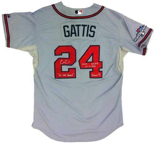 """Evan Gattis Autographed/Signed Game Used Atlanta Braves Road Playoff Majestic Jersey with """"El Oso Blanco"""" & """"2013 NLDS 10-7-2013 Game 4"""" Inscriptions-6180"""