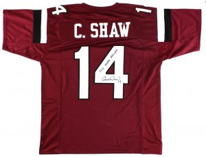 "Connor Shaw Signed South Carolina Gamecocks Custom Maroon Jersey with ""17-0 Home Record"" Inscription-0"