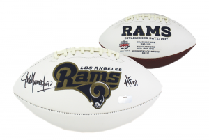 "Jack Youngblood Signed Los Angeles Rams Embroidered Football with ""HOF 01"" Inscription-0"