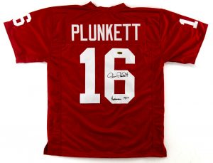 "Jim Plunkett Signed Stanford Cardinals Custom Jersey With ""Heisman 1970"" Inscription-0"