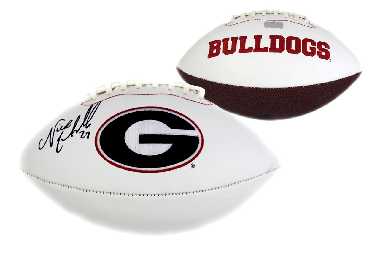 the best attitude 6e7b2 7e99c Nick Chubb Signed Georgia Bulldogs Embroidered NCAA Football
