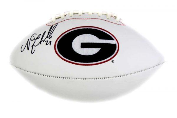 Nick Chubb Signed Georgia Bulldogs Embroidered NCAA Football-28068