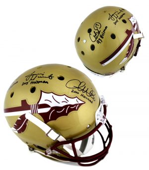 "Jameis Winston, Chris Weinke, & Charlie Ward Signed Florida State Seminoles Full Size Helmet with ""Heisman"" Inscriptions-0"