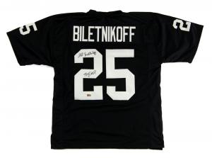 "Fred Biletnikoff Signed Oakland Raiders Black Custom Jersey with ""SB XI MVP"" Inscription-0"