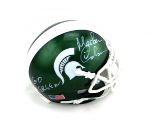 "Morten Andersen Signed Michigan State Spartans Schutt NCAA Mini Helmet with ""Go Green"" Inscription-0"
