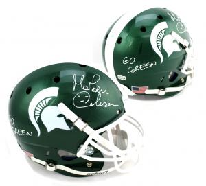 "Morten Andersen Signed Michigan State Spartans Schutt Full Size NCAA Helmet with ""Go Green"" Inscription-0"