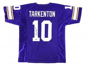 "Fran Tarkenton Signed Minnesota Vikings Purple Custom Jersey with ""HOF 86"" Inscription-0"