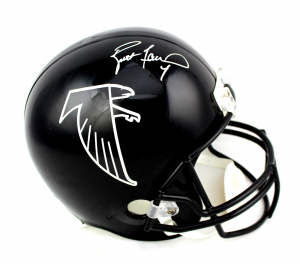 Brett Favre Signed Atlanta Falcons Throwback Full Size Black Helmet-0