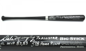 Dale Murphy Signed Rawlings Black Engraved MLB Bat with 3 Stats Inscription - Atlanta Braves-0