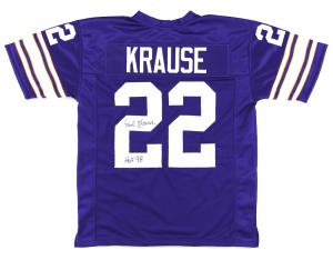 Paul Krause Signed Minnesota Vikings Throwback Purple Custom Jersey with HOF 98 Inscription-0