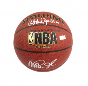 Kareem Abdul-Jabbar & Magic Johnson Signed Spalding Replica NBA Basketball-0