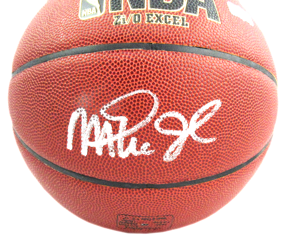 new product 1440d fa230 Kareem Abdul-Jabbar & Magic Johnson Signed Spalding Replica NBA Basketball