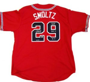 John Smoltz Autographed/Signed Official Majestic Jersey Career Statistics Limited Edition of 29-0