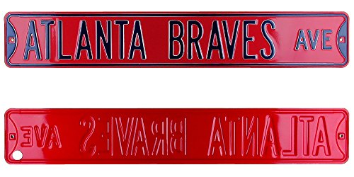 Atlanta Braves Avenue Officially Licensed Authentic Steel 36x6 Red & Navy Blue MLB Street Sign-0