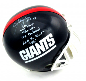 Lawrence Taylor Signed New York Giants Throwback Full Size Helmet with 4 Career Stat Inscription - LE-0