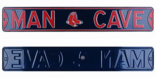 Boston Red Sox Man Cave Officially Licensed Authentic Steel 36x6 Navy Blue amp Red MLB Street Sign-0