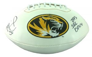 Michael Sam Autographed/Signed Missouri Tigers White Paneled Logo Football with SEC DPOY Inscription-0