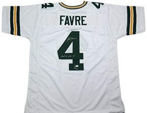"Brett Favre Autographed/Signed Green Bay Packers Custom Away NFL Jersey with ""Last to Wear 4"" Inscription - LE of 44-0"