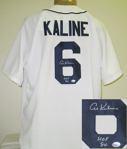 Al Kaline Autographed/Signed Detroit Tigers Majestic Jersey HOF 80-0